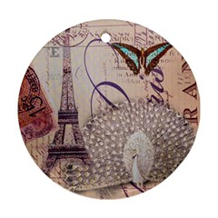 White Peacock Paris Eiffel Tower Vintage Bird Butterfly French Botanical Art Round Ornament by chicelegantboutique