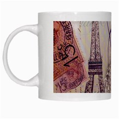 White Peacock Paris Eiffel Tower Vintage Bird Butterfly French Botanical Art White Coffee Mug by chicelegantboutique