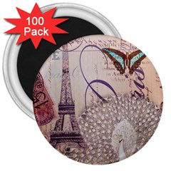 White Peacock Paris Eiffel Tower Vintage Bird Butterfly French Botanical Art 3  Button Magnet (100 Pack) by chicelegantboutique