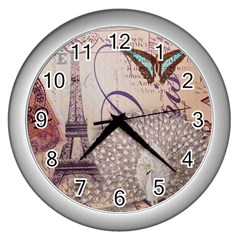 White Peacock Paris Eiffel Tower Vintage Bird Butterfly French Botanical Art Wall Clock (silver) by chicelegantboutique