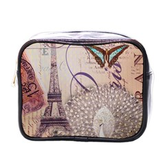 White Peacock Paris Eiffel Tower Vintage Bird Butterfly French Botanical Art Mini Travel Toiletry Bag (one Side) by chicelegantboutique