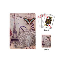 White Peacock Paris Eiffel Tower Vintage Bird Butterfly French Botanical Art Playing Cards (mini) by chicelegantboutique