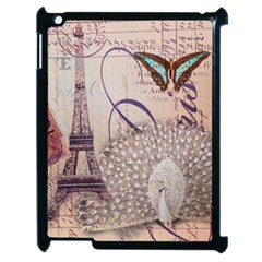 White Peacock Paris Eiffel Tower Vintage Bird Butterfly French Botanical Art Apple Ipad 2 Case (black) by chicelegantboutique