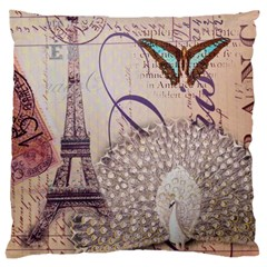 White Peacock Paris Eiffel Tower Vintage Bird Butterfly French Botanical Art Large Cushion Case (single Sided)  by chicelegantboutique