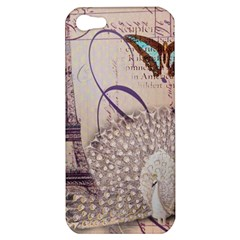 White Peacock Paris Eiffel Tower Vintage Bird Butterfly French Botanical Art Apple Iphone 5 Hardshell Case by chicelegantboutique