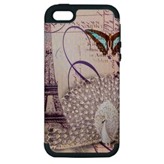 White Peacock Paris Eiffel Tower Vintage Bird Butterfly French Botanical Art Apple Iphone 5 Hardshell Case (pc+silicone) by chicelegantboutique