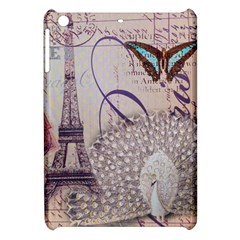 White Peacock Paris Eiffel Tower Vintage Bird Butterfly French Botanical Art Apple Ipad Mini Hardshell Case by chicelegantboutique