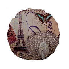 White Peacock Paris Eiffel Tower Vintage Bird Butterfly French Botanical Art 15  Premium Round Cushion  by chicelegantboutique
