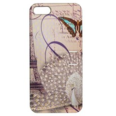 White Peacock Paris Eiffel Tower Vintage Bird Butterfly French Botanical Art Apple Iphone 5 Hardshell Case With Stand by chicelegantboutique