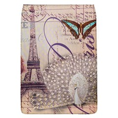 White Peacock Paris Eiffel Tower Vintage Bird Butterfly French Botanical Art Removable Flap Cover (large) by chicelegantboutique