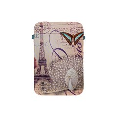 White Peacock Paris Eiffel Tower Vintage Bird Butterfly French Botanical Art Apple Ipad Mini Protective Soft Case by chicelegantboutique