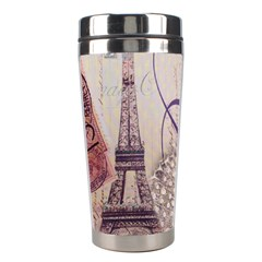 White Peacock Paris Eiffel Tower Vintage Bird Butterfly French Botanical Art Stainless Steel Travel Tumbler by chicelegantboutique