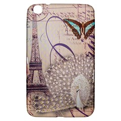 White Peacock Paris Eiffel Tower Vintage Bird Butterfly French Botanical Art Samsung Galaxy Tab 3 (8 ) T3100 Hardshell Case  by chicelegantboutique