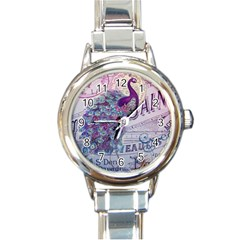 French Scripts  Purple Peacock Floral Paris Decor Round Italian Charm Watch by chicelegantboutique