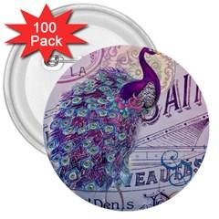 French Scripts  Purple Peacock Floral Paris Decor 3  Button (100 Pack) by chicelegantboutique