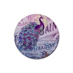 French Scripts  Purple Peacock Floral Paris Decor Drink Coasters 4 Pack (round) by chicelegantboutique