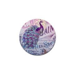 French Scripts  Purple Peacock Floral Paris Decor Golf Ball Marker 4 Pack by chicelegantboutique
