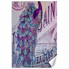 French Scripts  Purple Peacock Floral Paris Decor Canvas 20  X 30  (unframed) by chicelegantboutique