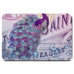 French Scripts  Purple Peacock Floral Paris Decor Large Door Mat by chicelegantboutique