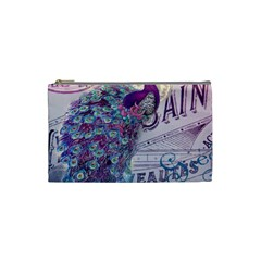 French Scripts  Purple Peacock Floral Paris Decor Cosmetic Bag (small) by chicelegantboutique