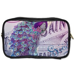 French Scripts  Purple Peacock Floral Paris Decor Travel Toiletry Bag (two Sides) by chicelegantboutique