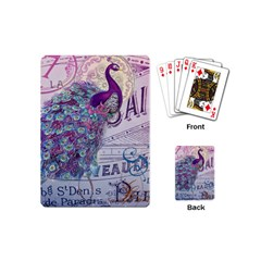 French Scripts  Purple Peacock Floral Paris Decor Playing Cards (mini) by chicelegantboutique