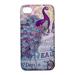French Scripts  Purple Peacock Floral Paris Decor Apple Iphone 4/4s Hardshell Case With Stand by chicelegantboutique