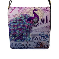 French Scripts  Purple Peacock Floral Paris Decor Flap Closure Messenger Bag (large) by chicelegantboutique