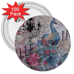 French Vintage Chandelier Blue Peacock Floral Paris Decor 3  Button (100 Pack) by chicelegantboutique