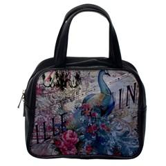 French Vintage Chandelier Blue Peacock Floral Paris Decor Classic Handbag (one Side) by chicelegantboutique