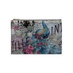 French Vintage Chandelier Blue Peacock Floral Paris Decor Cosmetic Bag (medium) by chicelegantboutique