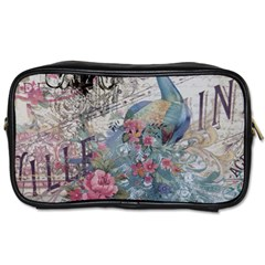 French Vintage Chandelier Blue Peacock Floral Paris Decor Travel Toiletry Bag (one Side) by chicelegantboutique
