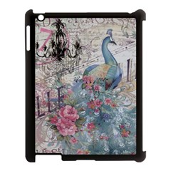 French Vintage Chandelier Blue Peacock Floral Paris Decor Apple Ipad 3/4 Case (black) by chicelegantboutique