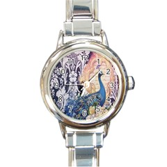 Damask French Scripts  Purple Peacock Floral Paris Decor Round Italian Charm Watch by chicelegantboutique