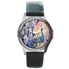 Damask French Scripts  Purple Peacock Floral Paris Decor Round Metal Watch (Silver Rim)