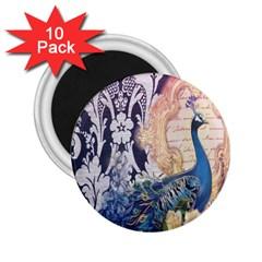 Damask French Scripts  Purple Peacock Floral Paris Decor 2 25  Button Magnet (10 Pack) by chicelegantboutique