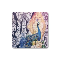 Damask French Scripts  Purple Peacock Floral Paris Decor Magnet (square) by chicelegantboutique