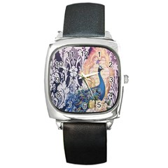 Damask French Scripts  Purple Peacock Floral Paris Decor Square Leather Watch by chicelegantboutique