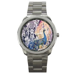 Damask French Scripts  Purple Peacock Floral Paris Decor Sport Metal Watch by chicelegantboutique