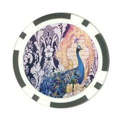 Damask French Scripts  Purple Peacock Floral Paris Decor Poker Chip by chicelegantboutique