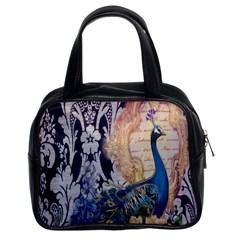 Damask French Scripts  Purple Peacock Floral Paris Decor Classic Handbag (two Sides) by chicelegantboutique