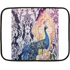 Damask French Scripts  Purple Peacock Floral Paris Decor Mini Fleece Blanket (two Sided) by chicelegantboutique