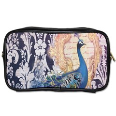 Damask French Scripts  Purple Peacock Floral Paris Decor Travel Toiletry Bag (one Side) by chicelegantboutique