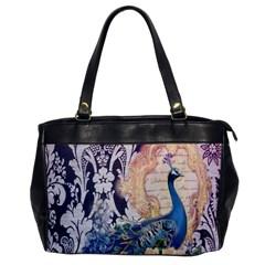 Damask French Scripts  Purple Peacock Floral Paris Decor Oversize Office Handbag (one Side) by chicelegantboutique