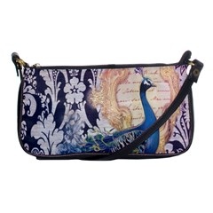Damask French Scripts  Purple Peacock Floral Paris Decor Evening Bag by chicelegantboutique
