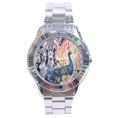 Damask French Scripts  Purple Peacock Floral Paris Decor Stainless Steel Watch (men s) by chicelegantboutique