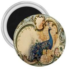 Victorian Swirls Peacock Floral Paris Decor 3  Button Magnet by chicelegantboutique