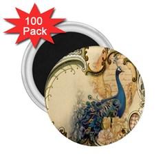 Victorian Swirls Peacock Floral Paris Decor 2 25  Button Magnet (100 Pack) by chicelegantboutique