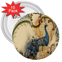 Victorian Swirls Peacock Floral Paris Decor 3  Button (10 Pack) by chicelegantboutique