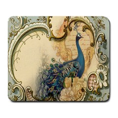 Victorian Swirls Peacock Floral Paris Decor Large Mouse Pad (rectangle) by chicelegantboutique